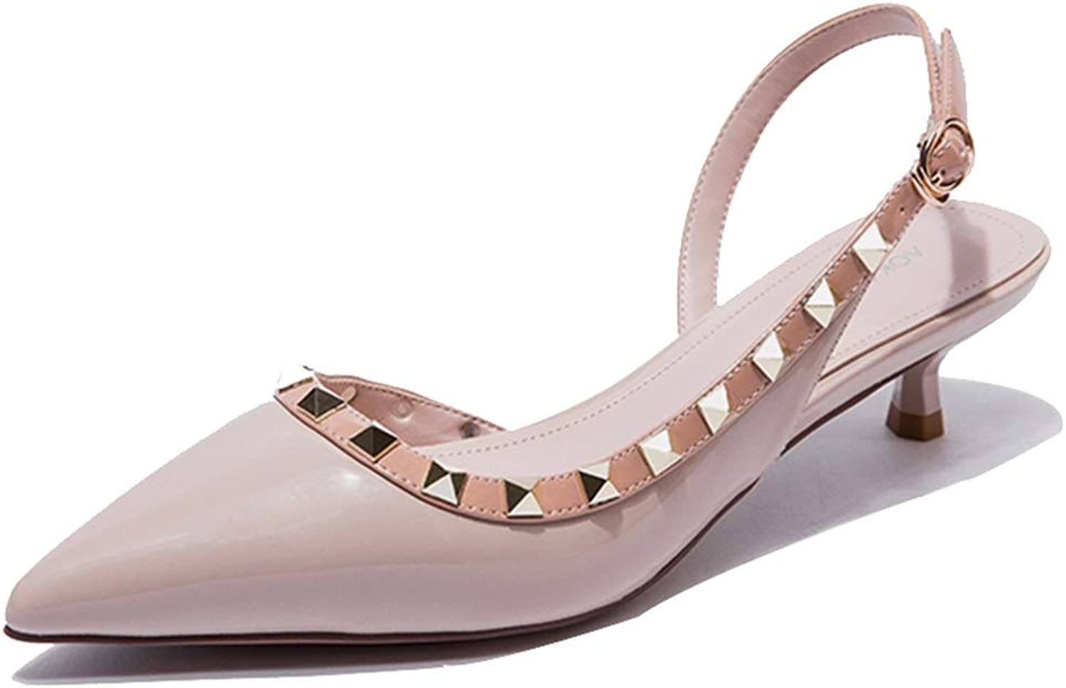 Pointed Rivet Women's shoes Kitten Heels for Women Mid Heel Sandals for Women Short Women's shoes Summer Women's Party shoes Court shoes, Fashion, Elegance (color   Pink, Size   37 US6.5-7)