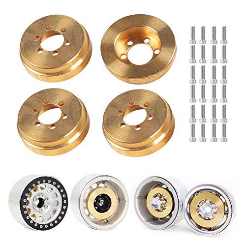 Kingsea 4 piezas RC Beadlock peso de rueda, 260 g de latón interno para llantas de 1,8 pulgadas y 2,2 pulgadas Beadlock 1/10 RC Crawler Traxxas TRX4 SCX10 SCX10II 90046 SCX10III AXI03007 D90 D110 TF2