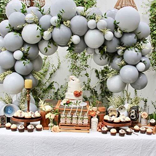 PartyWoo Luftballons Grau, 60 Stück Luftballons Matt Satz von Graue Luftballons und Luftballons Pastell Grau, Grau Ballons für Partydeko Grau, Taufdeko Grau, Grau Deko Hochzeit, Grau Deko Geburtstag