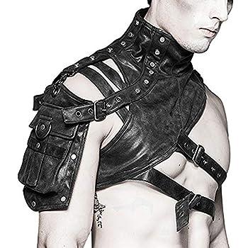 SmartHS Steampunk Arm Bag Gothic Black PU Leather Shoulder Bag Body Chest Harness Guard Armors for Men