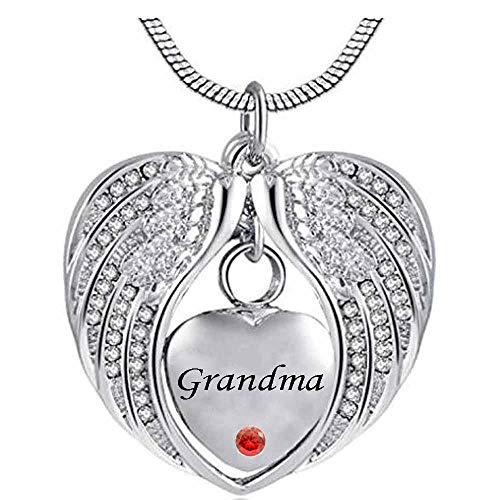 JJPRFO Urna Necklaceashes Recuerdo Angel Wing Piedra de Nacimiento Urna de cremación Collar de Cristal Corazón Memorial Colgante de Acero Inoxidable