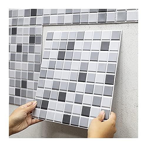 KJHJ 10 Piezas de Mosaico Autoadhesivo Continuo Impermeable Pegatina de Pared Bricolaje Decoración para el hogar Decalos de Pared 3D Creative Wallpaper 723 (Color : Mosaic, Size : 30cmX30cmX0.5cm)