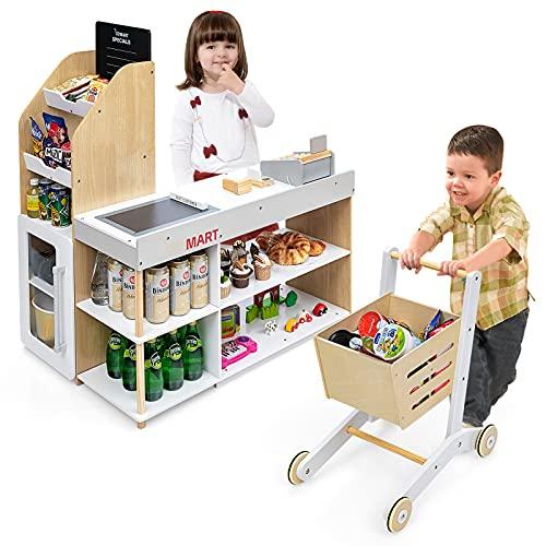 GOPLUS Kaufladen mit Einkaufswagen, Supermarkt aus Holz, Kaufmannsladen mit Tafel & Registrierkasse, inkl. Scanner & Kartenlesegerät & Kreditkarte & Münzen, Rollenspiele für Kinder ab 3 Jahren