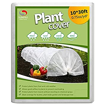 SUNPRO Plant Covers 0.75oz 10Ft x 30Ft Reusable Floating Row Cover Freeze Protection Plant Blankets for Cold Weather  Support Hoops Not Included