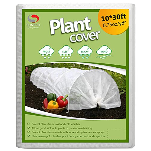SUNPRO Plant Covers, 0.75oz 10Ft x 30Ft Reusable Floating Row Cover, Freeze Protection Plant Blankets for Cold Weather (Support Hoops Not Included)