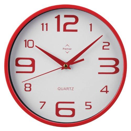 Premier Housewares - Reloj de Pared Redondo (números Grandes y pequeños), Color Rojo