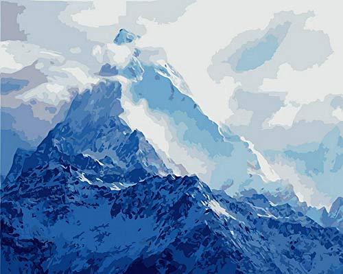 Pintar por Numeros para Adultos Niños Pico de la montaña Nevada DIY Pintura al Óleo Pintura por Números con Pinceles y Pinturas Decoraciones para el Hogar (40 x 50 cm Sin Marco)