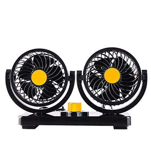 Guangcailun 12V / 24V de 360 Grados de rotación Ajustable Dual automática de la Cabeza del Coche del Aire del Ventilador de refrigeración 2 Velocidad Delgada Rejilla del Ventilador Verano Silencio