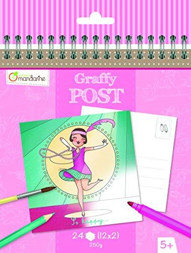 Avenue Mandarine GY011O - Un carnet à spirale Graffy Post 24 cartes imprimées à colorier 15x14,5 cm 250g (12 designs x2), Danseuses