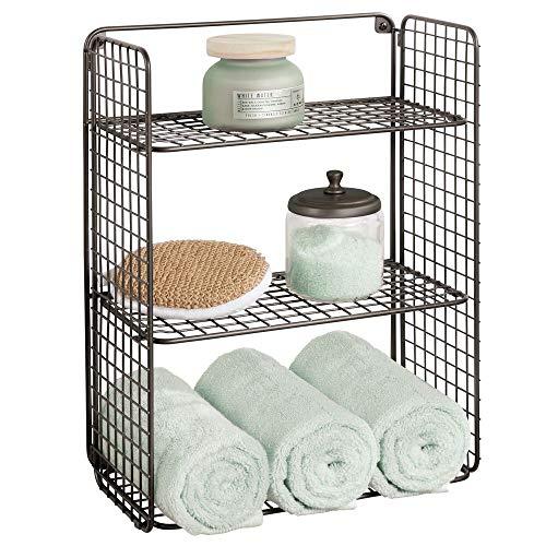 mDesign Repisa de pared plegable con 3 niveles – Baldas para baño – Cesta de alambre metálico para guardar toallas de baño, champú y más – Estantes de metal con diseño de rejilla – color bronce