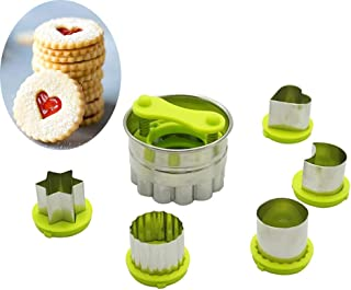 VolksRose Linzer Classic Cookie Biscuit Cutters Set, 6-Pack Stainless Steel Baking Tools Pastry Cutters, Hollow Sauce Jam ...