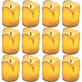 """YASENN Flameless Candles,Battery Operated Tea Light Candle,LED Flameless Candle Drips on Side,Votive Candle Fake Candles for Christmas Halloween Pumpkin Decorations(1.5""""x2"""" 12pack)"""