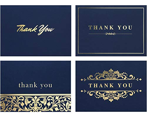 thank you notes 100 Thank You Cards Bulk - Thank You Notes- Blank Note Cards with Envelopes - Perfect Business, Wedding Card, Bridal and Baby Shower Card - 4x6 Photo Size (Bold Navy Blue)