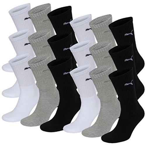 PUMA Unisex Crew Socks Socken Sportsocken MIT FROTTEESOHLE 18er Pack white / grey / black 325 - 43/46