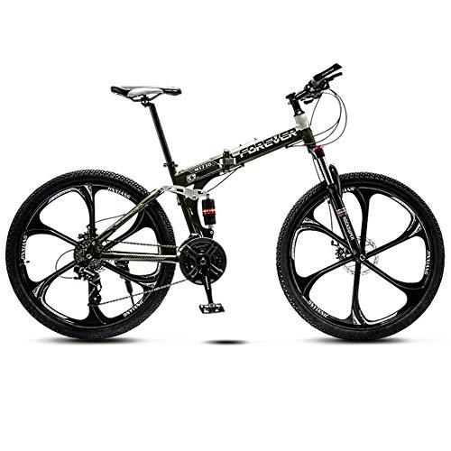 JIAOJIAO Adult Offroad Mountain Falträder Herren- und Damenfahrräder Variable Geschwindigkeit doppelte Stoßdämpfung Student Licht Fahrrad-6 Räder Cutter grün_26 Zoll 21 Geschwindigkeit Höhe 160-180cm
