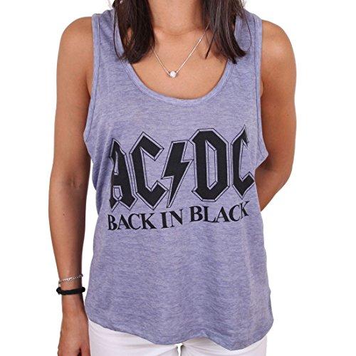 AC/DC – Top da donna Premium Rockband – Back in Black Logo (grigio) (S-L) grigio. L