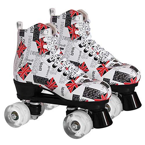 XUDREZ - Patines de patinaje para mujer y hombre, 4 ruedas, patines clásicos de piel de doble fila para interior y exterior, unisex, adultos con bolsa