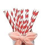 Pajitas BOFA colorido a rayas, pajitas de papel con rayas rojas de 19,7cm (100unidades)