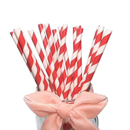 BOFA rot gestreifte Papierstrohhalme, 100% biologisch abbaubar, 20 cm lang, geeignet für Partys, Hochzeiten und Anlässe, 100 pro Karton