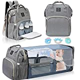 Diaper Bag Backpack, 14 Functional Pockets Diaper Bag with Changing Station & Pad, Portable Travel Baby Diaper Bag including Appease Toys Shade Mosquito Net