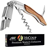 Professional Waiter's Corkscrew by HiCoup - Rosewood Handle All-in-one Corkscrew, Bottle...