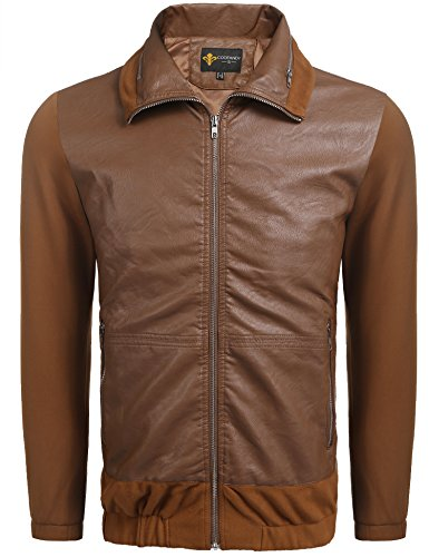 COOFANDY Men's Classic Pu Leather Jacket Motorcycle Jacket Biker Jacket Zipper Coat Brown