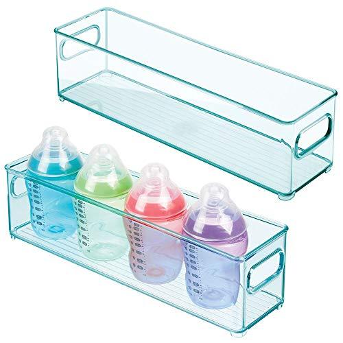 mDesign Juego de 2 cestas organizadoras para el cuarto del bebé – Contenedor plástico estrecho con prácticas asas – Caja para juguetes, peluches o pañales en plástico libre de BPA – azul claro