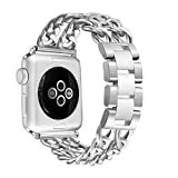 Secbolt Stainless Steel Bands Compatible Apple Watch 38mm 40mm iWatch Series 5, Series 4, Series 3, Series 2, Series 1, Sport, Edition, Silver