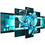 Tableau decoration murale Fleurs de Lys 200 x 100 cm - XXL Impression sur Toile Salon Appartment 5 Parties - prêt à accrocher - 008651a