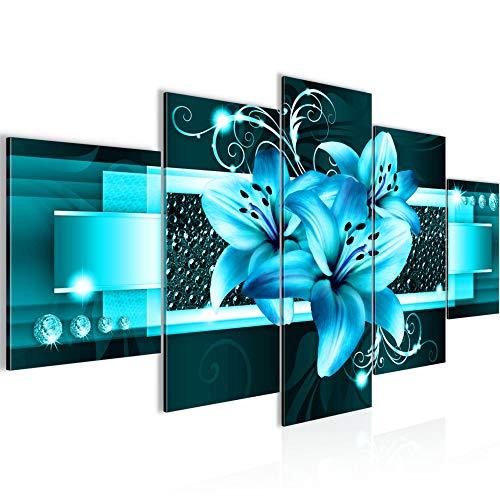 Bilder Blumen Lilien Wandbild 200 x 100 cm Vlies - Leinwand Bild XXL Format Wandbilder Wohnzimmer Wohnung Deko Kunstdrucke Türkis 5 Teilig - MADE IN GERMANY - Fertig zum Aufhängen 008651a