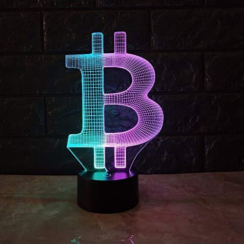 YDBDB Nachtlicht Acryl Bitcoin Mix Farbe 3D Lampe Stimmung Rgb Led Beleuchtung Usb Touch Base Tisch Schreibtisch Nacht Dekorativ