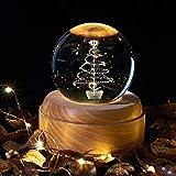 3D LED Santa Claus elk muñeco de nieve bola de cristal base luminosa de madera Lámpara de mesa de Navidad Decoración del dormitorio Luz de noche regalo de cumpleaños Regalo para niños