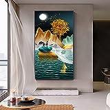 Moderno paisaje abstracto línea de arte porche Mural decoración lienzo pintura cuadros de pared para sala de estar decoración del hogar 60x120 CM (sin marco)