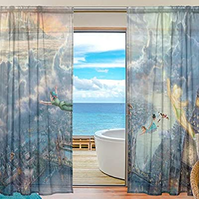 Meroy Fowler Anime Game Tinker Bell and Peter Pan Tulle Curtain Sheer Curtains Drapery Window Treatment Curtain (2 Panels Each 55 x 78 Inch) for Living Room Voile Drapes Bedroom Kitchen Window