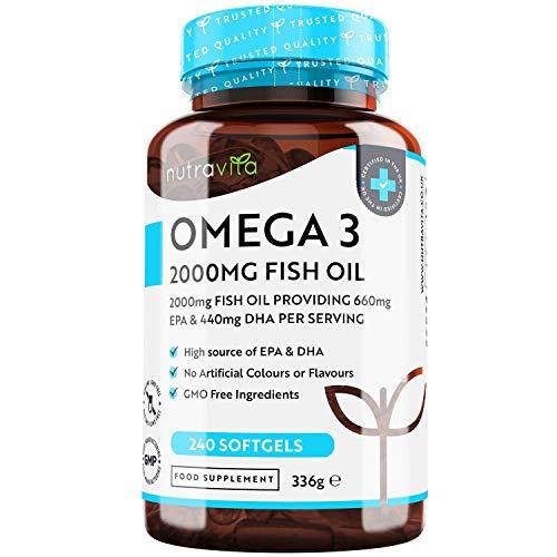 Huile de Poisson Sauvage Oméga 3-2000mg - 240 Gélules (120 Jours d'approvisionnement) - Omega 3 avec EPA (660mg) & DHA (440mg) - Sans OGM - Fabriqué par Nutravita