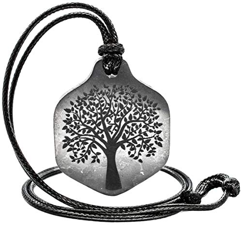 Shungite Pendant with Engraving Tree of Life