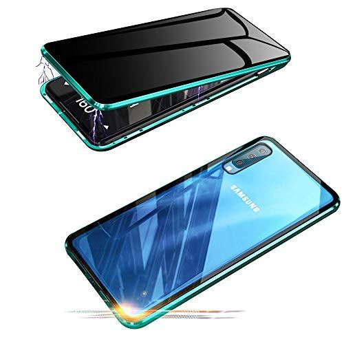 Jonwelsy Anti-Spy Funda para Samsung Galaxy A50, 360 Grados Proteccion Case, Privacidad Vidrio Templado Anti espía Cover, Adsorción Magnética Metal Bumper Cubierta para Samsung Galaxy A50 (Verde)