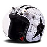 Travel Pillows Casco Retro De Motocicleta Harley Medio Casco De Cara Abierta 3/4 Casco Certificado Dot/ECE Cruiser Chopper Scooter Casco De Moto Moto Jet Jet Adulto con Espejo De Burbujas