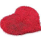 Romote Rojo del corazón Mullido Suave Microfibra Chenilla Alfombra de baño Dormitorio de la Estera de la Alfombra