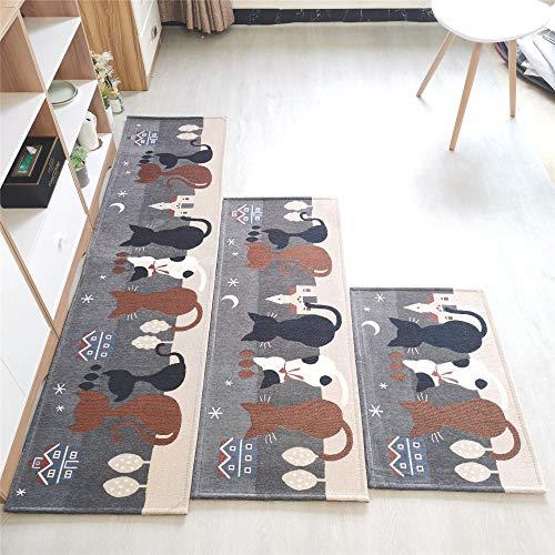 Xiannv Tappetino per Porta a Strisce Lungo Nuovo Cartone Animato Tappetino per Scarpe Assorbente Antiscivolo Tappetino da Cucina Tessuto Jacquard stuoieGatto Domestico-Grigio45 * 120