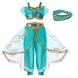 Hamanasu Disfraz de princesa de jazmín para niñas, disfraz de princesa para fiesta de cumpleaños (diadema, 7-8Y/150)