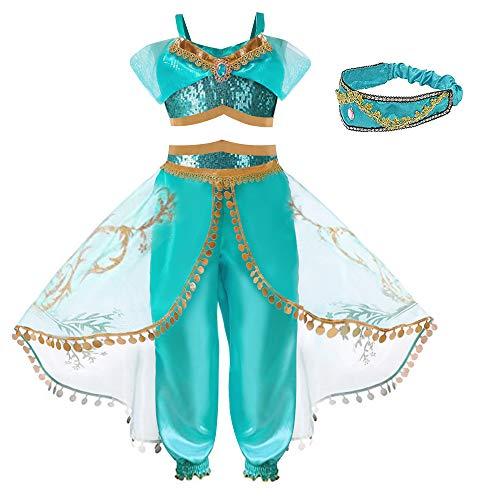Hamanasu - Costume da principessa Jasmine per ragazze, per feste di compleanno e giochi di ruolo (fascia per capelli, 7-8 anni/150)