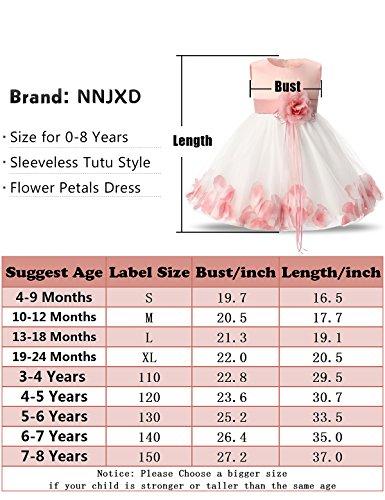 NNJXD Girl Flower Petal Bowknot Bautizo Vestido de Fiesta de la Dama de Honor de la Boda Talla 10-12 Meses Rojo