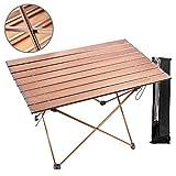 1yess Garten-Tisch Camping Tisch Aluminiumlegierung Material, Hart Gekrönt Leichte Bracket Faltbarer Aufbewahrungstasche for das Wandern Camping Reisen Barbecue Beach (Rose Gold) 8bayfa