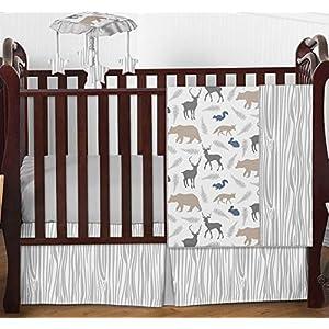 Sweet Jojo Designs Woodland Animals Baby Boy Nursery Crib Bedding Set – 4 Pieces – Blue, Grey and Taupe Forest Bear Deer Fox