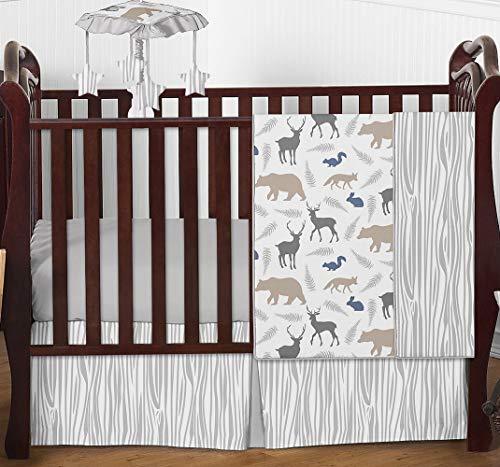 Sweet Jojo Designs Woodland Animals Baby Boy Nursery Crib Bedding Set - 4 Pieces - Blue, Grey and Taupe Forest Bear Deer Fox