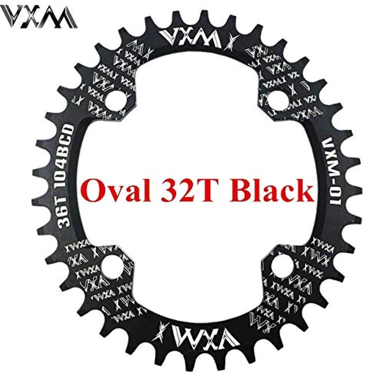 予備パイプ信頼できるPropenary - 自転車104BCDクランクオーバルラウンド30T 32T 34T 36T 38T 40T 42T 44T 46T 48T 50T 52TチェーンホイールXT狭い広い自転車チェーンリング[オーバル32Tブラック]
