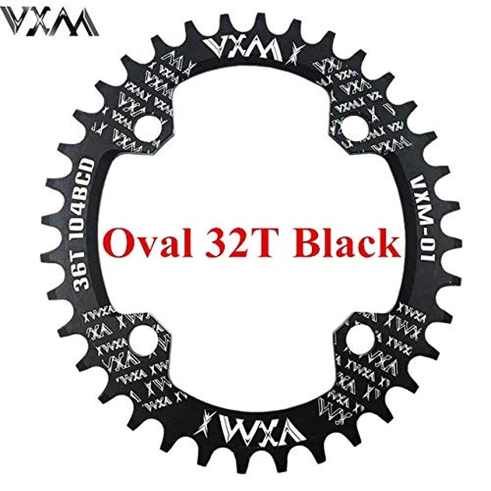 男らしい鳴り響く独占Propenary - 自転車104BCDクランクオーバルラウンド30T 32T 34T 36T 38T 40T 42T 44T 46T 48T 50T 52TチェーンホイールXT狭い広い自転車チェーンリング[オーバル32Tブラック]