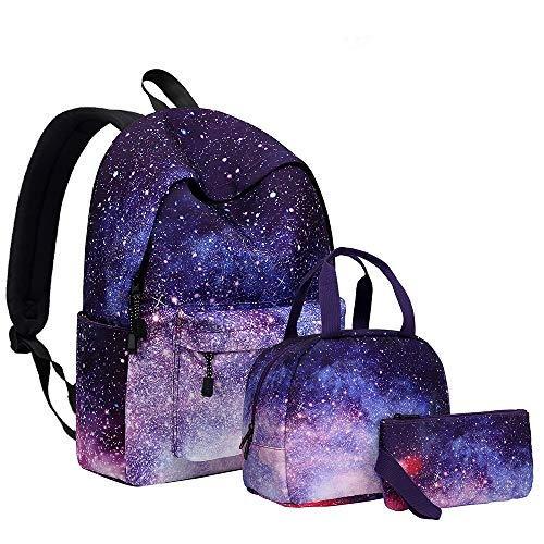 YIMENLR Kids School Bag with Lunch Box Girls, Starry Sky Backpack Student School Bag Female Meal Bag Set