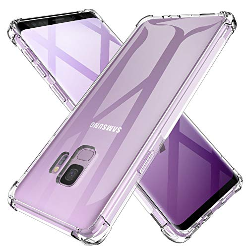 Galaxy S9 Case Crystal Clear Shockproof Bumper Protective Case for Samsung Galaxy S9 Transparent Pure TPU Slim Fit Flexible Cell Phone Back Covers for Men Women Boys Girls Rubber Silicone